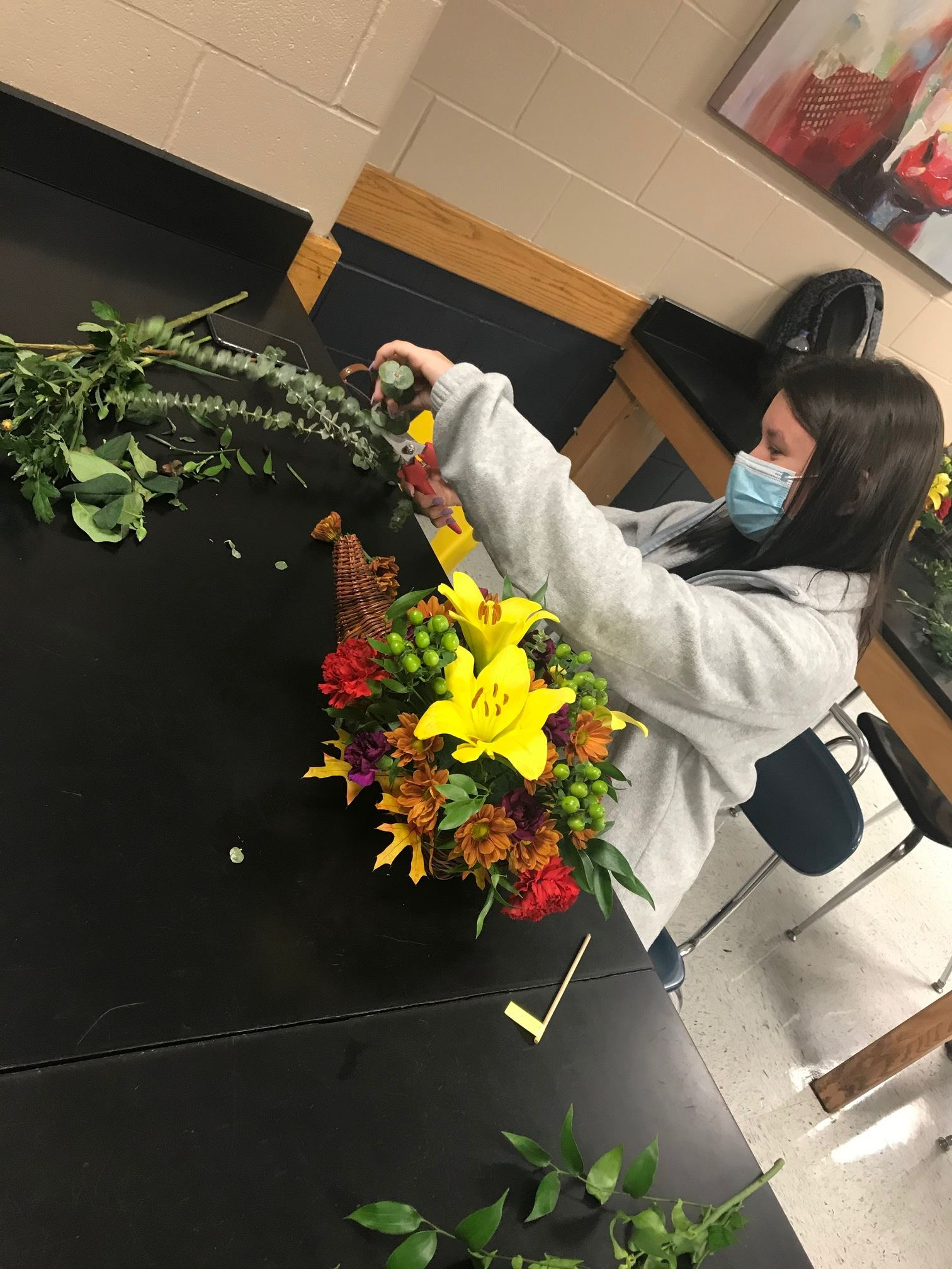 Ms. Petrosky's Floral Design Students Creating Thanksgiving Cornucopius