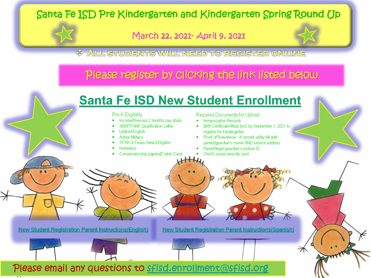 Santa Fe ISD Pre Kindergarten and Kindergarten Spring Round Up
