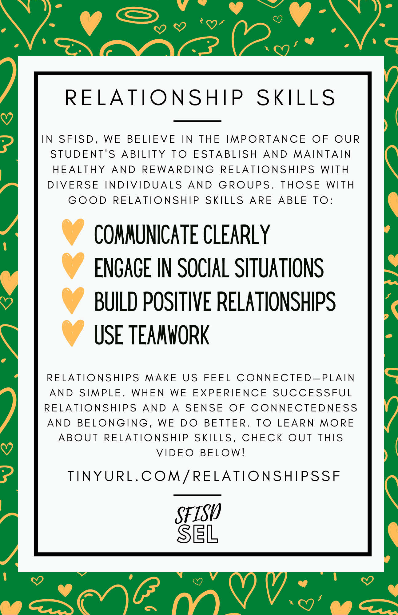 SFISD SEL Weekly Competency Focus - Relationship Skills