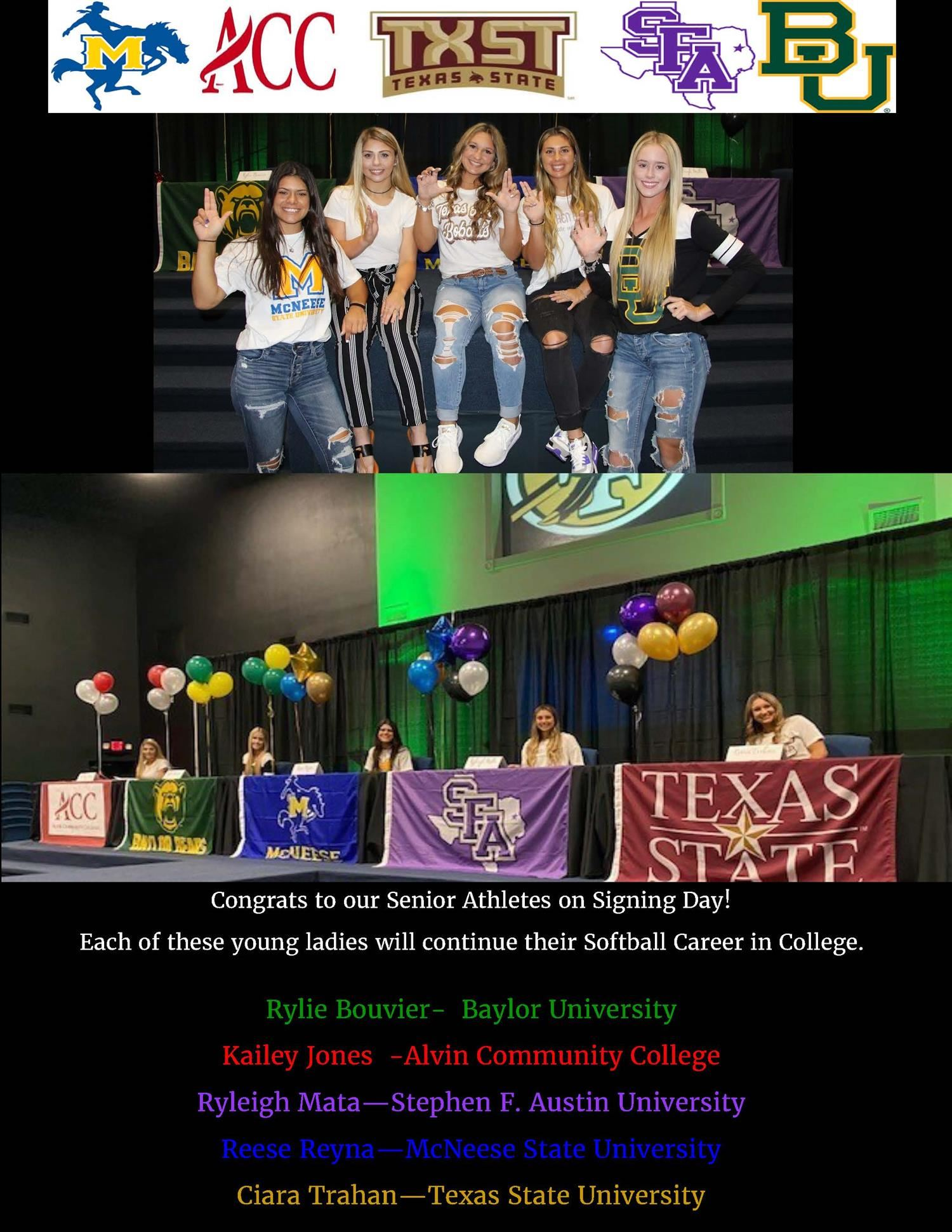 Congratulations to these SFHS Seniors on their Softball Early Signing Period.